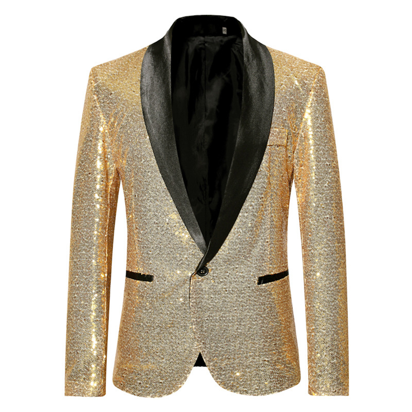 <font><b>Men</b></font> <font><b>Sequine</b></font> <font><b>Jacket</b></font> <font><b>Blazer</b></font> Slim Fit Golden Suit <font><b>Jacket</b></font> Shinning Club Outfit Party Outwear Streetwear Performance Dancer Clothing image