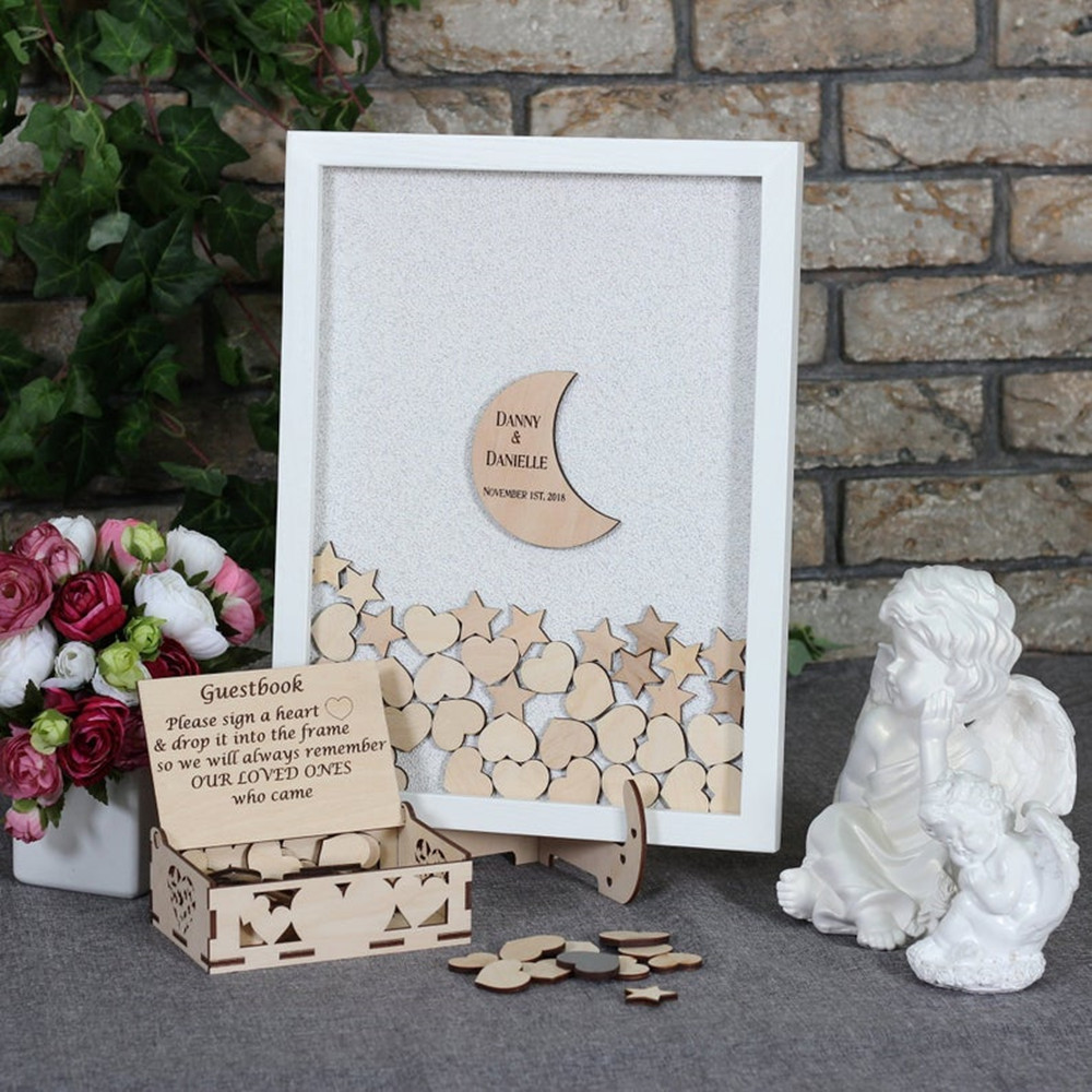 PERSONALISED WOODEN WEDDING GUEST BOOK BOX MEMORY BOX MESSAGES PHOTO BIRTHDAY