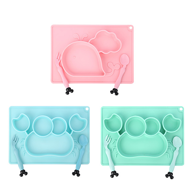 3pcs Baby Silicone Dining Plate Cartoon Whale Crab Toddler Tableware Set Children Feeding Bowl Spoon Fork Kids Anti-fall  Dishes