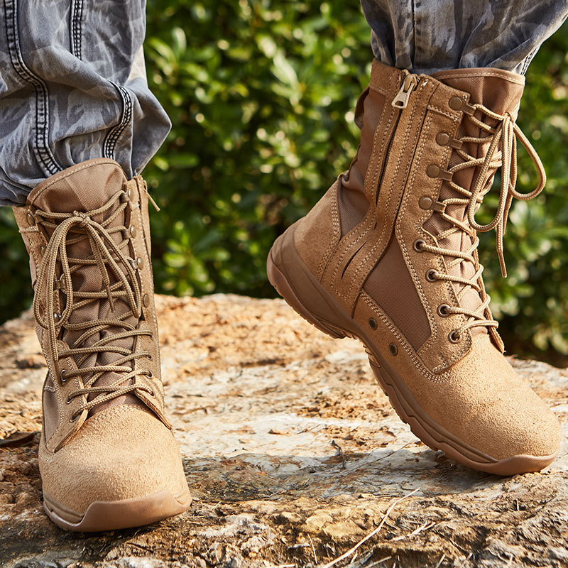 Sandy Color Xinyu Combat Boots With Zipper Ultra-Light Combat Boots Desert Boots Sandy Color Combat Boots