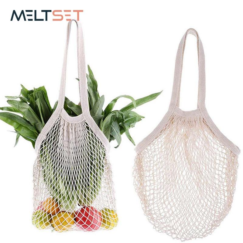 Portable Vegetable Bags Reusable Cotton Mesh Bag Shopping Tote For Vegetables Fruits Kitchen Storage Eco-friendly Handbag Totes