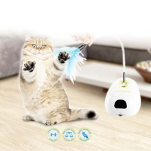 Cat Interactive Toys Automatic Teaser Exerciser Kitten With Detachable Feather Wand For  Entertainment