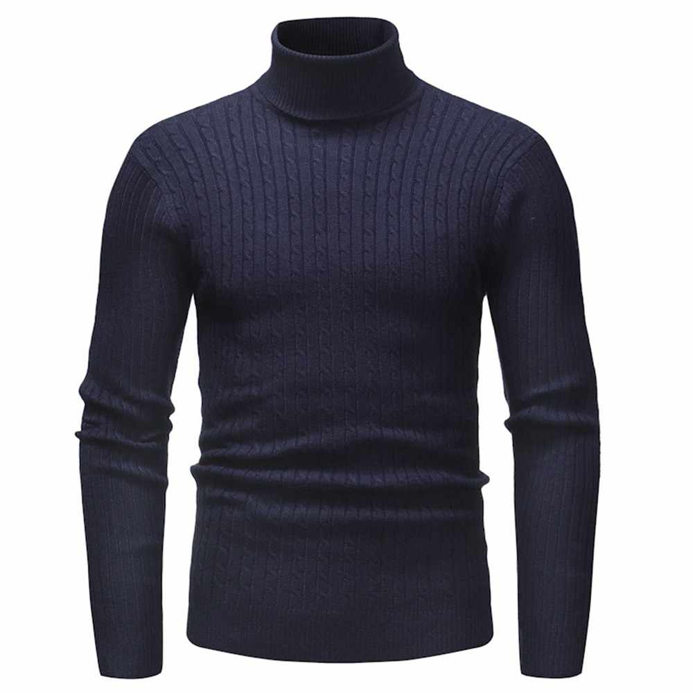 Mens Long Sleeve Ribbed Crew Neck Casual Knitted Winter Sweater Pullover Jumper