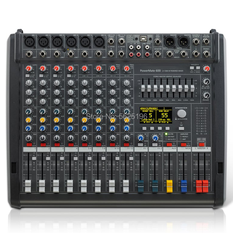 Powermate 600-3 6 Channel Powered Audio Sound Mixer Mixing Console 1000W * 2 PM600-3 Dynacord Powermate 600