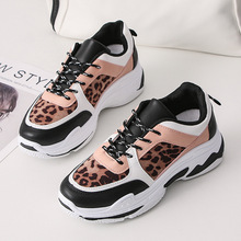 Women Fashion Shoes 2019 New Platform Leopard Increase High Casual Sneakers Breathable Style Leather Sports