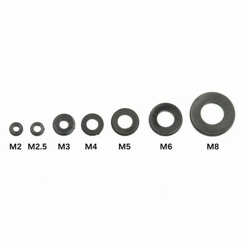 364 個黒ゴムワッシャーナイロンフラットゴムワッシャーリング平座金ガスケットメトリック M2 M2.5 M3 M4 M5 m6 M8 ボルト/ネジ
