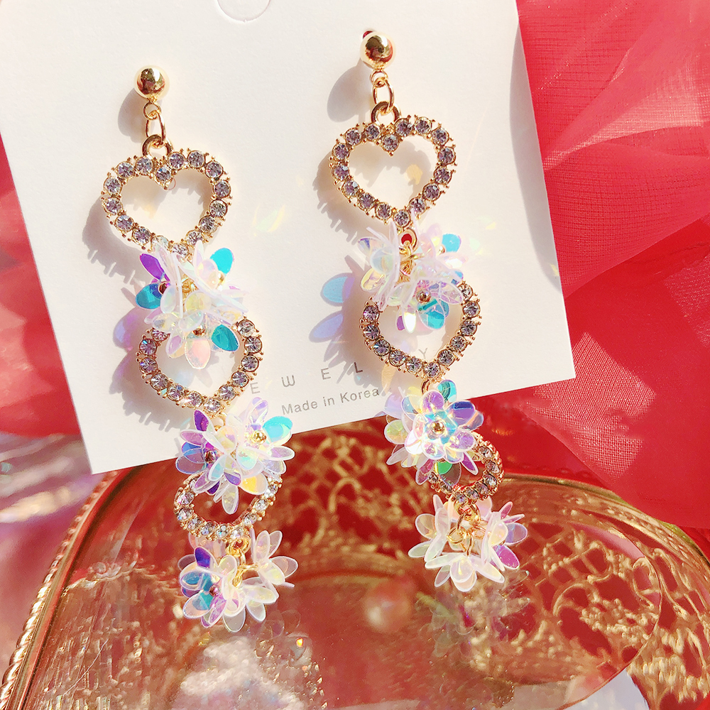 MENGJIQIAO Korean Trendy  Love Heart Rhinestone Long Pendientes For Women Fashion Colorful Plastic Flower Dangle Earrings Gift