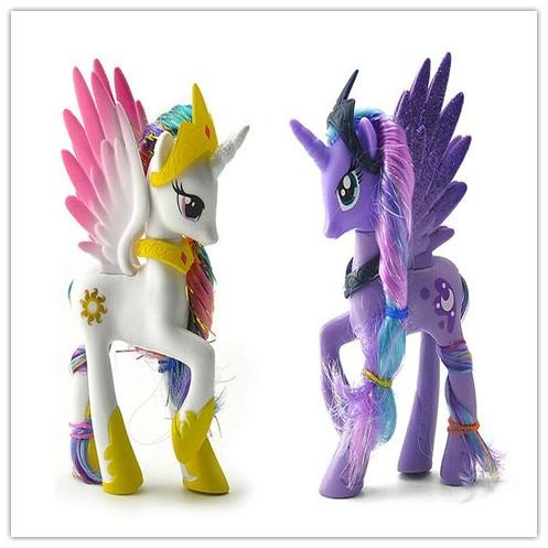 2Pcs/Set Unicorn White Sun Princess Blue Princess Luna Horse Action Toy Figures 14CM High