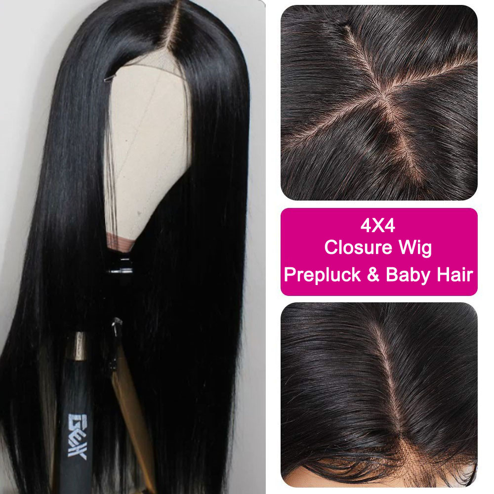 Lace Closure Wig 100% Human Hair Wigs 4*4 Pre Plucked With Baby Hair Middle Part Peruvian Straight Hair Lace Wigs Bleached Knots
