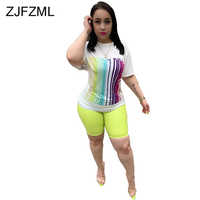Plus Size Sexy Two Piece Sweatsuits Women Festival Clothing Striped Print Short Sleeve T Shirt+Biker Shorts Casual Matching Sets