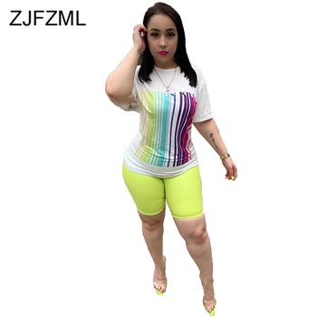Plus Size Sexy Two Piece Sweatsuits Women Festival Clothing Striped Print Short Sleeve T Shirt+Biker Shorts Casual Matching Sets casual matching sets summer two piece set o neck short sleeve t shirt high waist side striped shorts sets