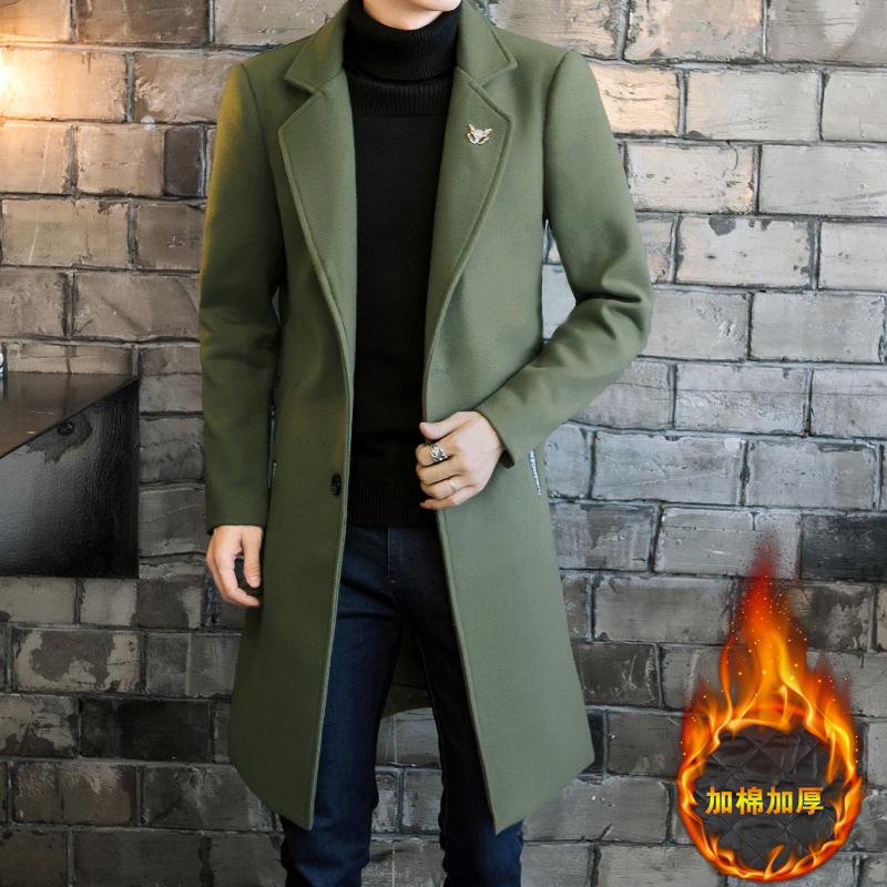 Long-Jackets Coats Wool-Blend Male Single-Breasted Casual Mens Full-Winter for 3XL 4XL title=