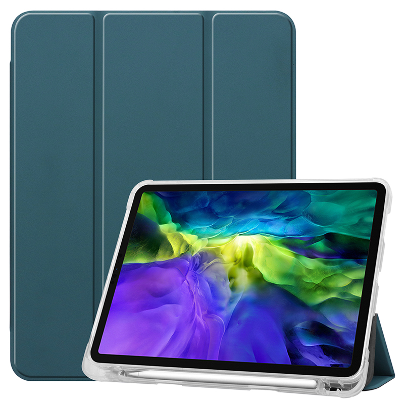 Dark Green Yellow Clear TPU case with pencil slot for 2020 iPad Pro 11 inch A2228 A2068 A2230 transparent