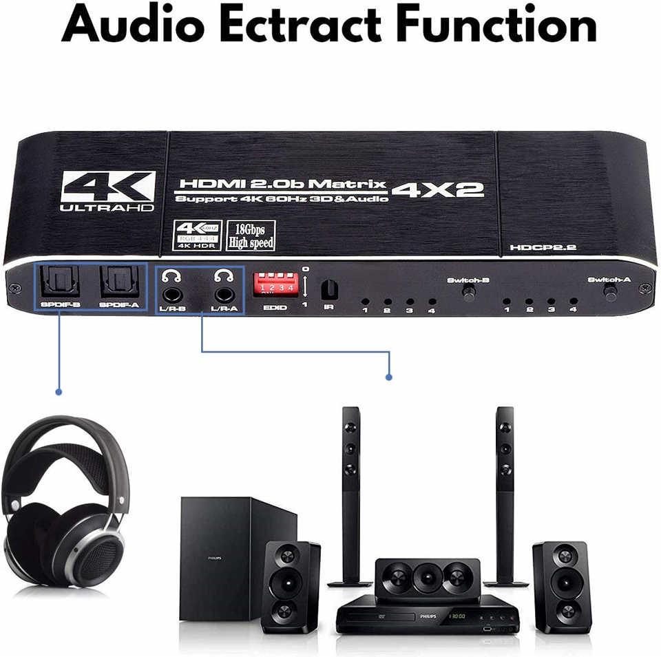 2020 K @ 60 4Hz 4x2 Interruptor Matriz HDMI Splitter Suporte HDCP 2.2 IR Controle Remoto HDMI interruptor 4x2 4K 4x2 Interruptor da Matriz HDMI Spdif
