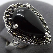 15*23mm RARE VINTAGE NATURAL BLACK AGATE 925 SILVER MARCASITE RING SIZ 7/8/9/10(China)
