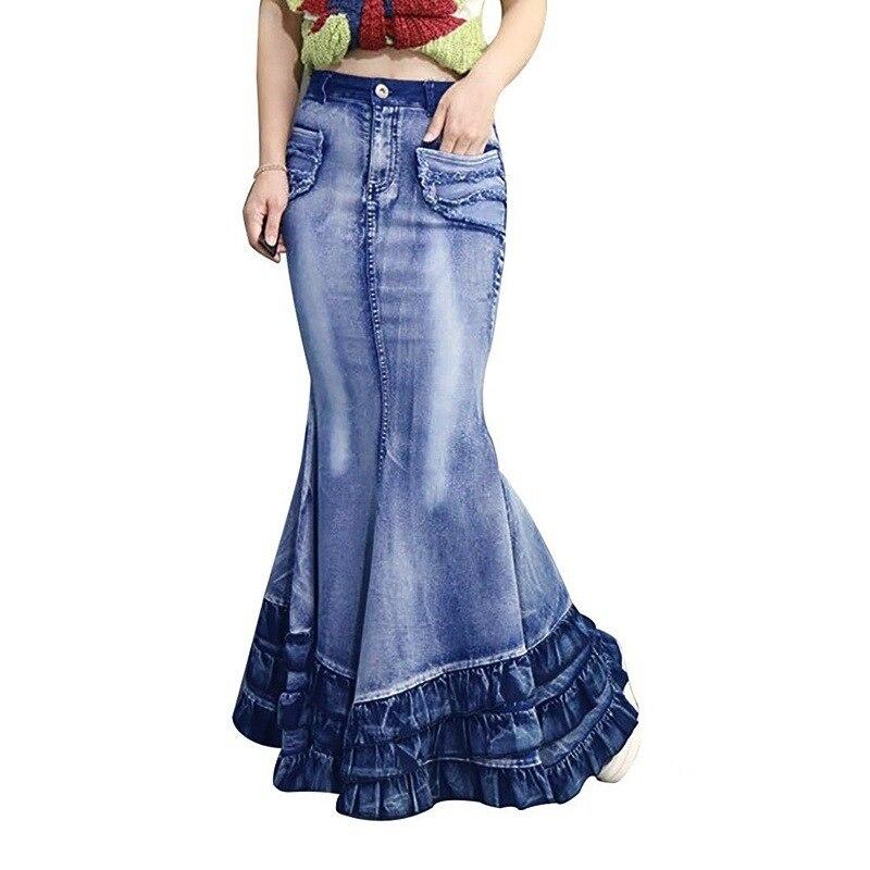 Vintage Big Fish Tail Denim Women Skirt No Stretchy Floor-Length Maxi Long Skirt Mermaid Trumpet Empire High Waist Jeans J9D792