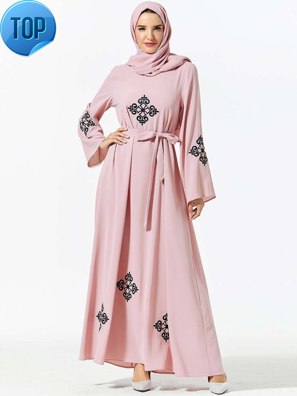 Hot Embroidery African Dresses For Women Long Sleeve Muslim Wedding Dress With Hijab Dress For Ladies No Headscarf