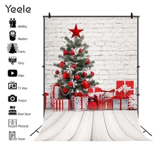 Yeele Christmas Tree Gifts Brick Wall Wooden Floor Photography Backgrounds Customized Photographic Backdrops for Photo Studio