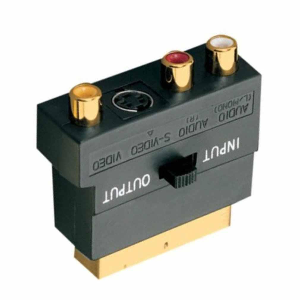 Адаптер Scart av-блок на 3 соединитель-гнездо типа RCA композитный s-видео с переключателем вкл/выкл Scart на SVHS адаптер для видеомагнитофона