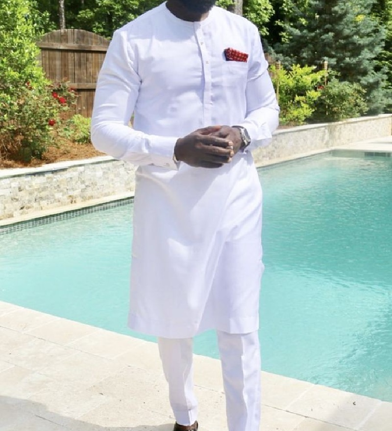 African fashion shirts and trousers solid white pant sets senator style man groom suits customized party wear African clothes