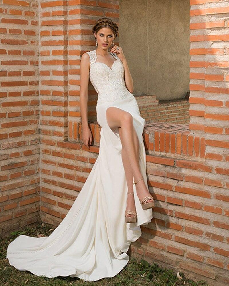 Vestido De Noiva Sereia 2019 Shoulder Straps Beading Appliques Sexy Skirt Slit Satin Mermaid Wedding Dresses Aliexpress Login