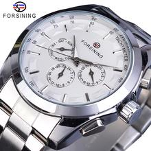 Forsining Silver White Male Mechanical Watch 3 Sub Dial Luminous Hands Date Stainless Steel Band Man Business Sport Montre Homme цена