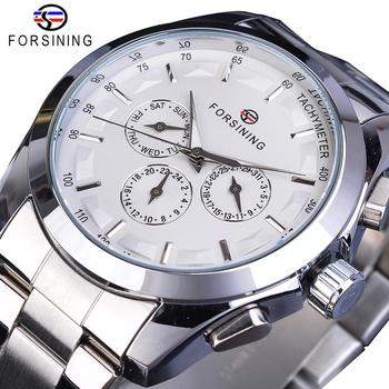 Forsining Silver White Male Mechanical Watch 3 Sub Dial Luminous Hands Date Stainless Steel Band Man Business Sport Montre Homme mce men s fashionable stainless steel band analog mechanical watch silver white