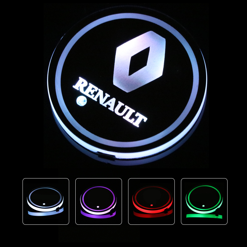 2X Led Car Logo Cup lights For Renault Megane 3 Logan Duster light Luminous Coaster Drinks Holders Accessories Atmosphere lamp