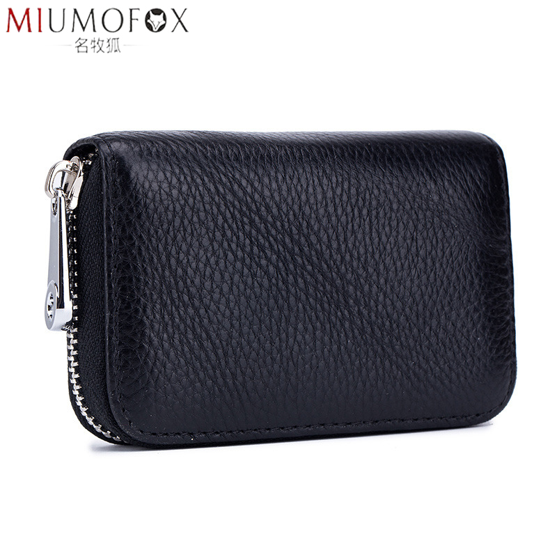 Genuine Leather Card Pack Organizer Business RFID Credit Card Holder Women Travel Card Bag Zipper Small Change Purse For Women