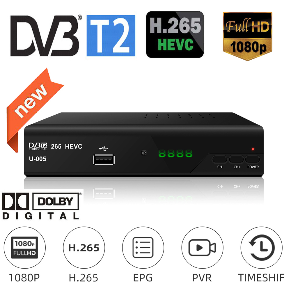New TV Decorder DVB-T2 Digital Receiver Digital TV Converter Box Supports H.265/HEVC Resume Play Full Compatible With DVB-T/H264
