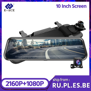 E-ACE A37P 4K Dash camera 10 Inch Car Mirror Dvr 2160P Video Recorder with 1080P Rear view Camera Night Vision Dashcam with GPS