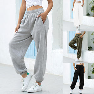 Trousers Black Sweatpants High-Waist Gray Ankle-Length Loose Women Casual Solid