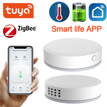 Tuya ZigBee Mini Temperature Humidity Sensor Built in Battery Smart Life APP Smart Home Building Automation LCD Screen Display