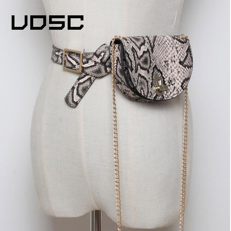 UOSC Women Waist Pack Semicircle Fanny Pack Leahter Waist Bag Fashion Chain Waist Belt Shoulder Bags Female Purse Bum Bag