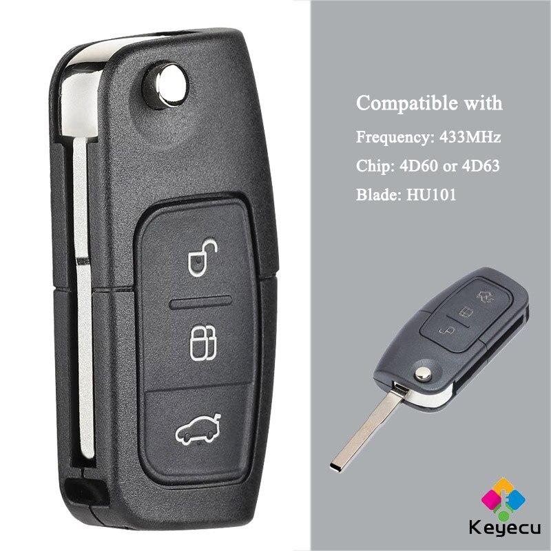 Пульт дистанционного управления KEYECU с 3 кнопками, 433 МГц, HU101 Blade 4D60/ 4D63, чип-брелок для Focus Mondeo C Max S Max Galaxy Fiesta