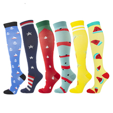 Black Socks Compression-Socks Stockings Cycling Long-Pressure Outdoor Stripe High Cat