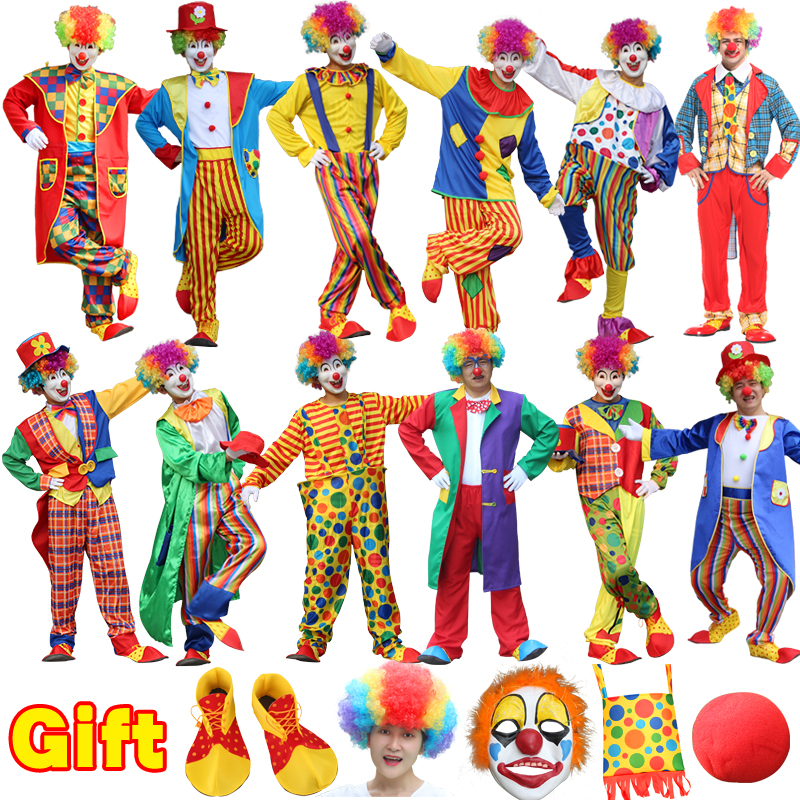 Holiday Variety Funny Clown with mask wigs Cosplay Costume Christmas Woman Man Joker Party Dress Up Clown Clothes Suit Costume