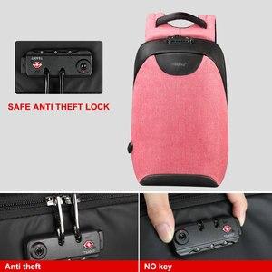 Image 3 - Pas de clé Anti vol TSA serrure mode femmes sacs à dos 15.6 pouces USB charge ordinateur portable femme Mochila 18L collège école sac à dos