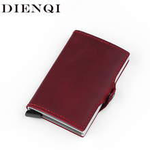 Genuine Leather Metal Small Men Wallet Anti Rfid Blocking Aluminium Credit Card Holder Purse Male Slim Mini Pocket Wallet Vallet
