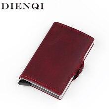 Hakiki deri Metal küçük erkek cüzdan Rfid engelleme alüminyum kredi kartı tutucu çanta erkek ince Mini cep cüzdan Vallet