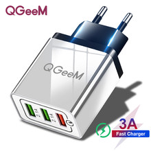Qgeem 3 Usb Charger Quick Charge 3.0 Snelle Usb Wall Charger Draagbare Mobiele Oplader Qc 3.0 Adapter Voor Xiaomi Iphone X Eu Us Plug(China)