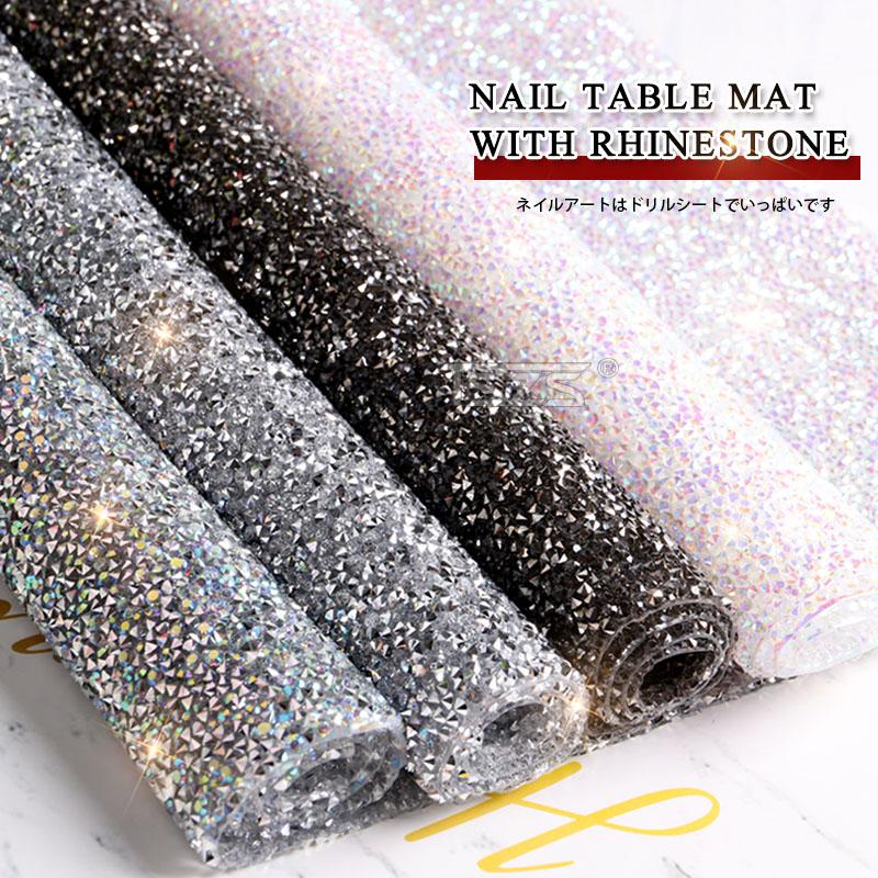 TSZS 1pc/lot Diamond Luxury Salon Practice Cushion Washable Pad Pillow Hand Holder Manicure Tool Nail Table Mat With Rhinestone