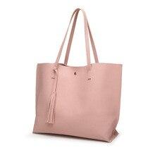 купить Women's Bag Pebbled Faux Leather Tote Shoulder Bag Purse Big Capacity Tassel Female Handbag Tote Bags For Teenage Girls по цене 599.21 рублей