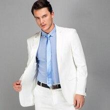 새로운 화이트 슬림 맞는 웨딩 남자 정장 신랑 턱시도 신랑 정장 최고의 남자 2 조각 (자켓 + 바지) 댄스 파티 복장