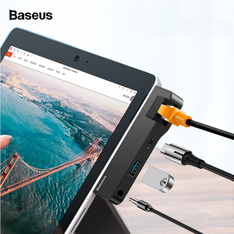 Baseus USB C HUB To USB 3.0 HDMI RJ45 3.5mm Audio Adapter For Surface Go Pro 6 Multi USB-C Type C HUB Ethernet USB Splitter
