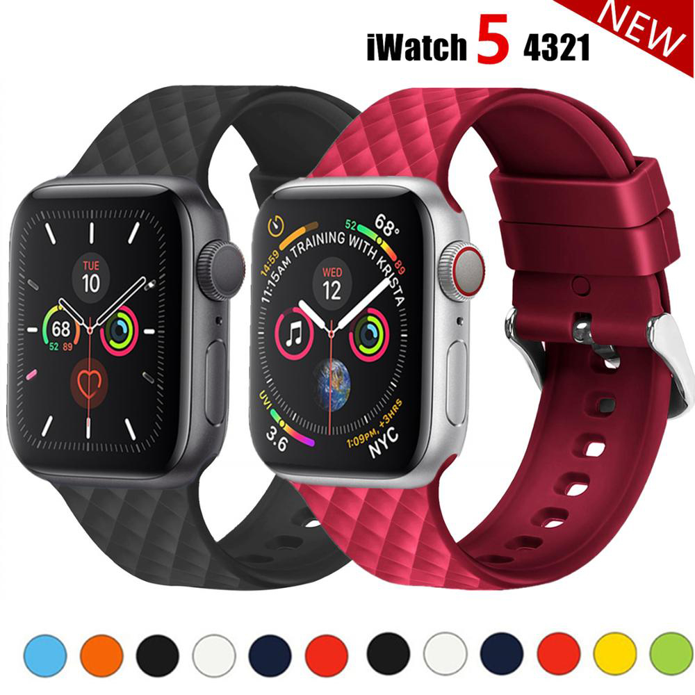 Silicone Watch Band For Apple Watch Strap 44mm 40mm Iwatch Band 38mm 42mm Rhombic Pattern Watchband Bracelet Apple Watch 4 3 2 1