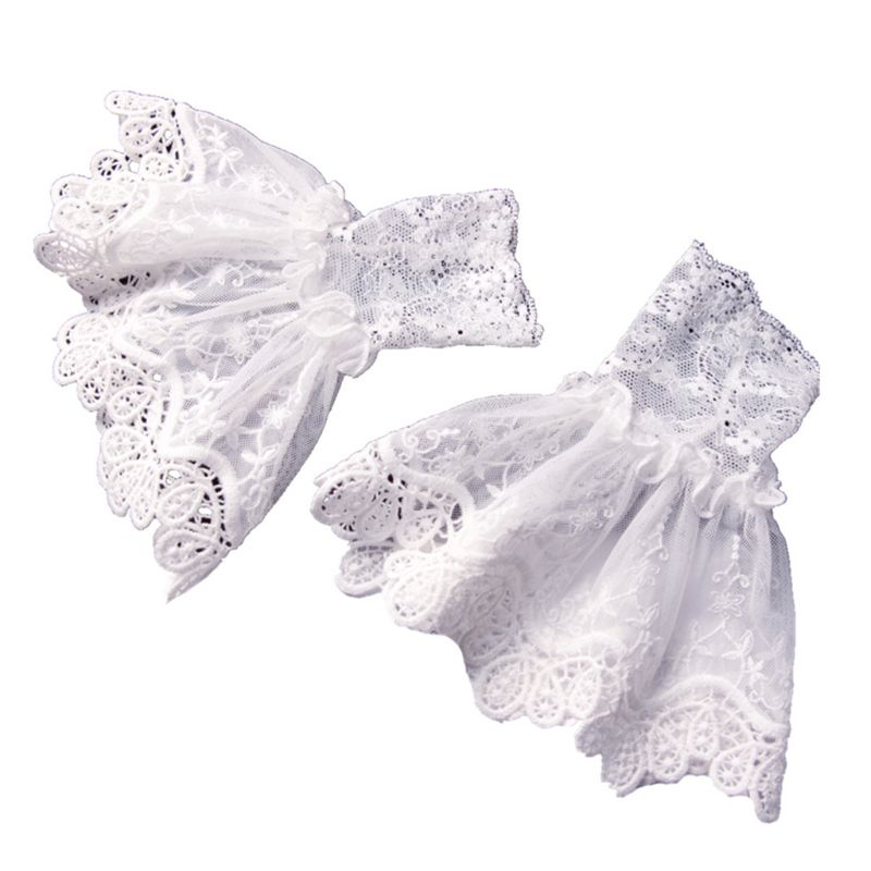 Female Girls Sweater Decorated Fake Sleeves Hollow Out Crochet Floral Lace Horn Cuffs Embroidery Flounces Ruffles Elastic Wrist