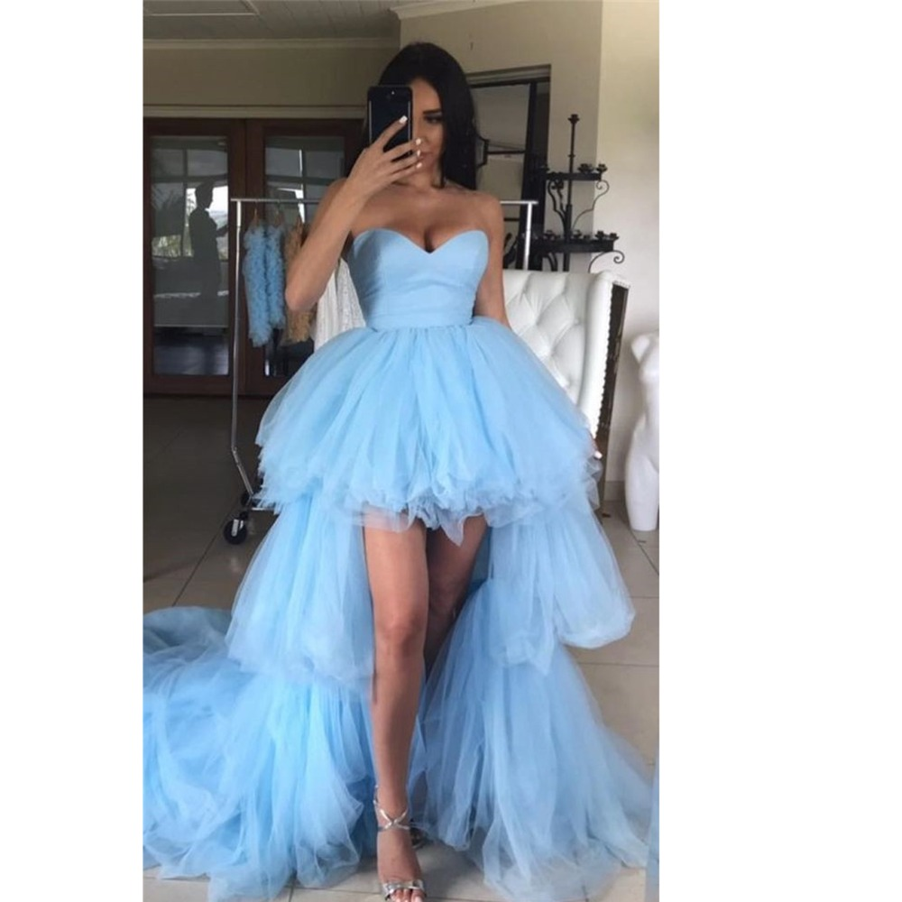 High Low Prom Dresses 2020 Sweetheart Ruffles Light Blue Tulle Short Front Long Back Party Dresses Graduation Evening Gowns