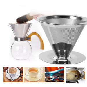 2018 Stainless Steel Pour Over Dripper Coffee One Layer Mesh Filter With Cup Stand Coffee Strainers Tools(China)