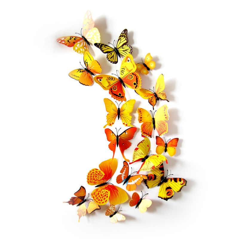 12 ชิ้น/ล็อต PIN และแม่เหล็กประดิษฐ์สีเหลือง Butterfl PARTY Favors น่ารักผีเสื้อสติ๊กเกอร์ติดผนังของขวัญปาร์ตี้สำหรับผู้เข้าพักของขวัญ
